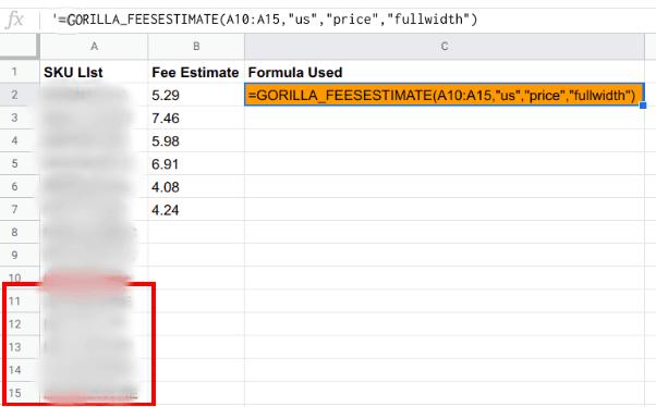gorilla fee estimate price data