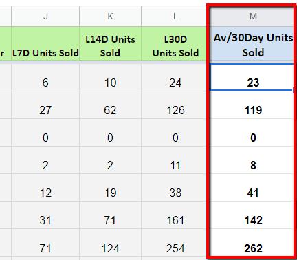 amazon average 30 days units sold