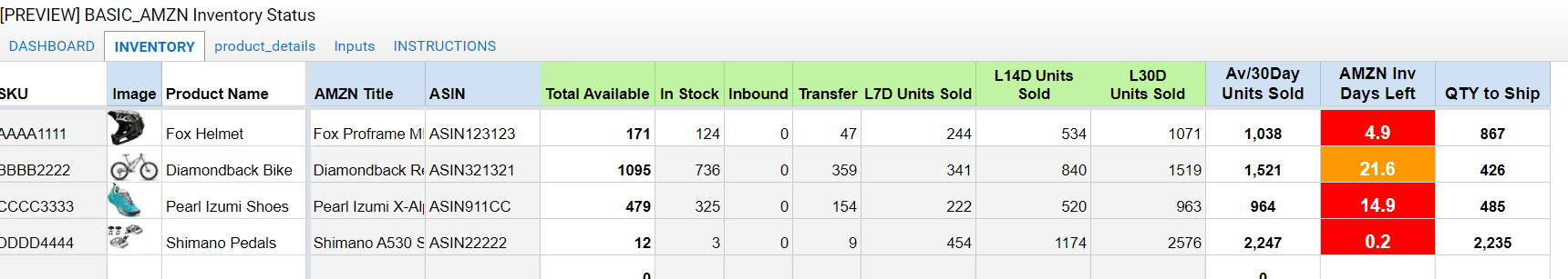 amazon excel warehouse inventory details tracking spreadsheet in stock