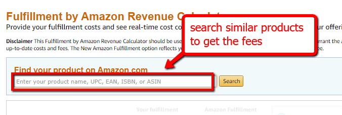 amazon fee calculator search bar upc asin sku