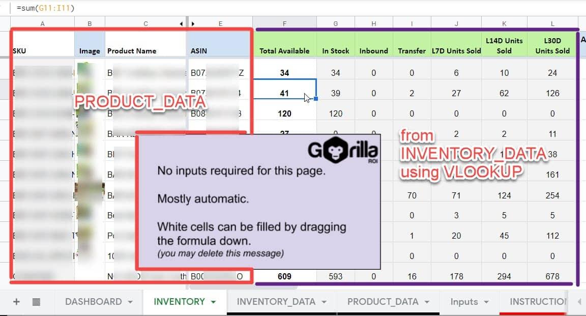 amazon inventory stock data tracking imported