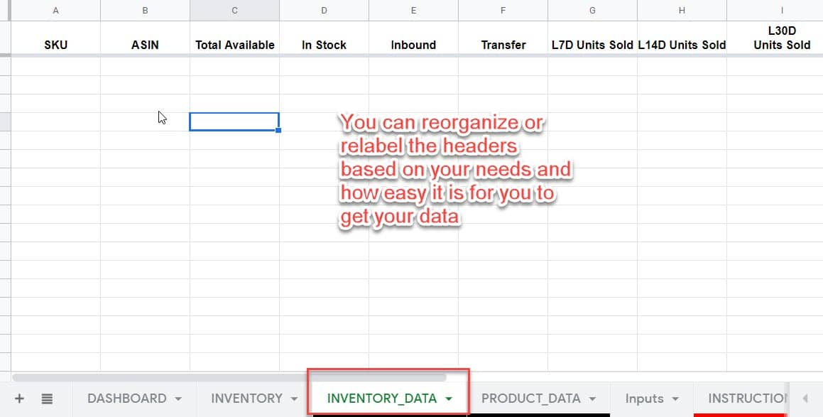 amazon inventory stock data tracking