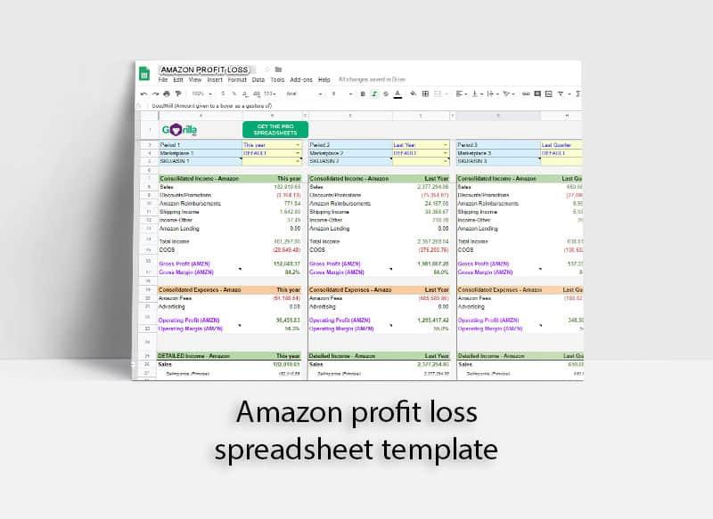 amazon profit loss spreadsheet template