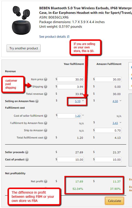 amazon profit margin fbm vs fba