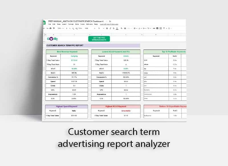 Advertising report analyzer for customer search term