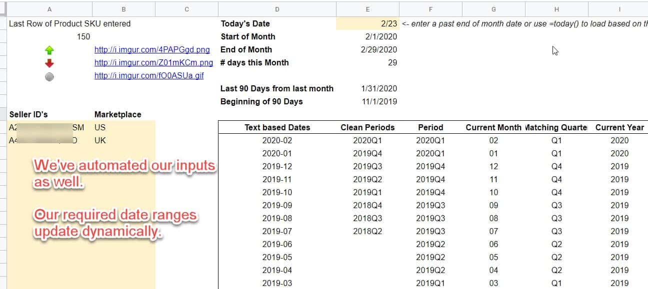 amazon spreadsheet input ranges date ranges automated