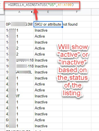 asin status active inactive results