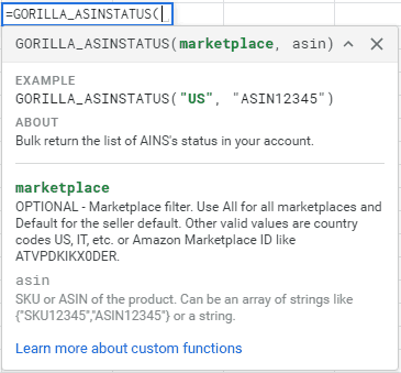 GORILLA_ASINSTATUS() - Get the active or inactive status of the ASIN 1