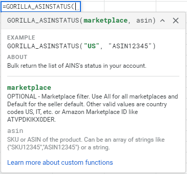 """Find the status of your ASIN. Returns """"active"""" or """"inactive""""."""
