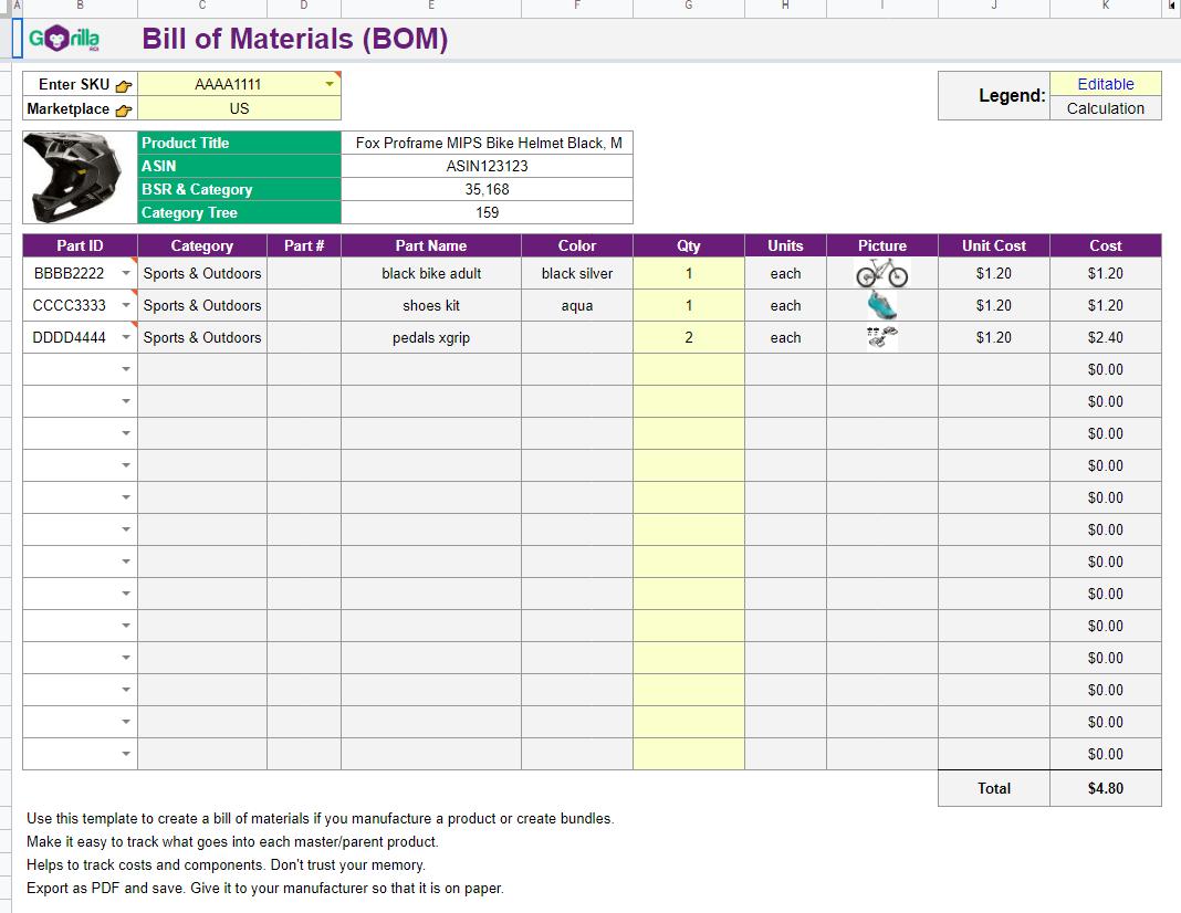 bill of materials spreadsheet template