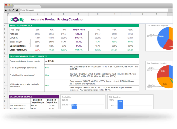product pricing calculator spreadsheet