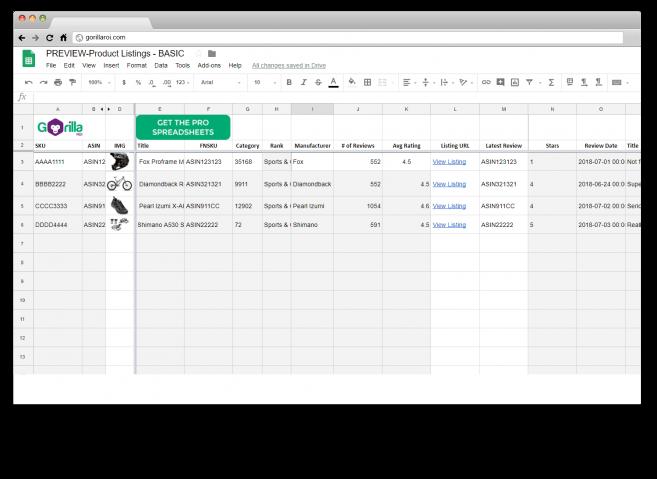 amazon google sheets spreadsheet template integration