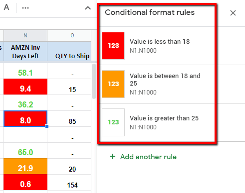 conditional filter alert amazon inventory days left