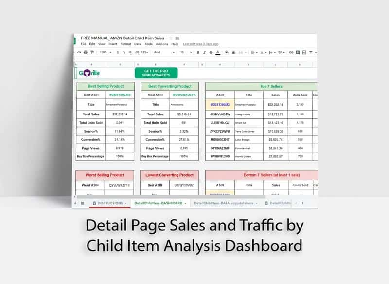 free amazon spreadsheet child sales stats traffic