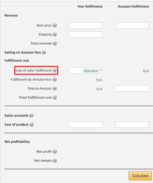 fulfillment fees- Amazon Calculator