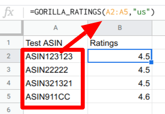 gorilla ratings array in action