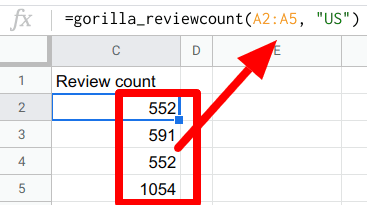 gorilla review count array in action
