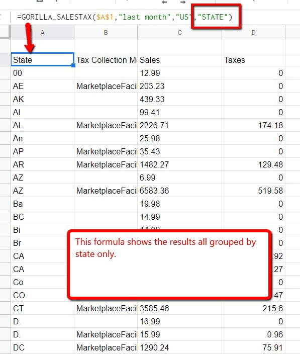 Gorilla FBA sales tax formula by state