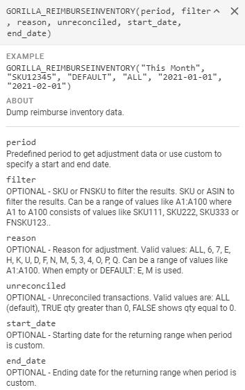 GORILLA_REIMBURSEINVENTORY() – Display reimbursement inventory data 1