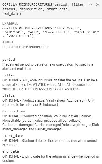 GORILLA_REIMBURSERETURNS() – Display reimbursement returns data 1