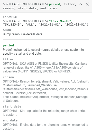GORILLA_REIMBURSEDETAILS() – Display reimbursement report and individual details 1