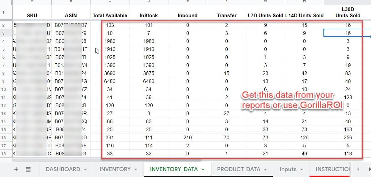 import amazon inventory data