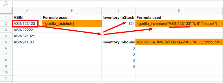 Example of how to use the INVENTORY formula