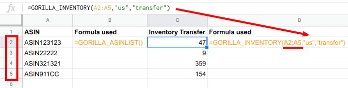 inventory transfer range