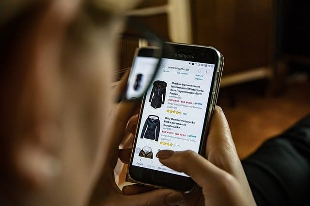 person using ecommerce store on phone