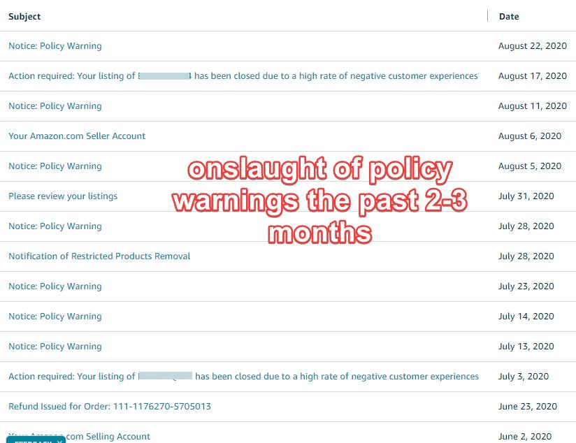 policy warnings amazon