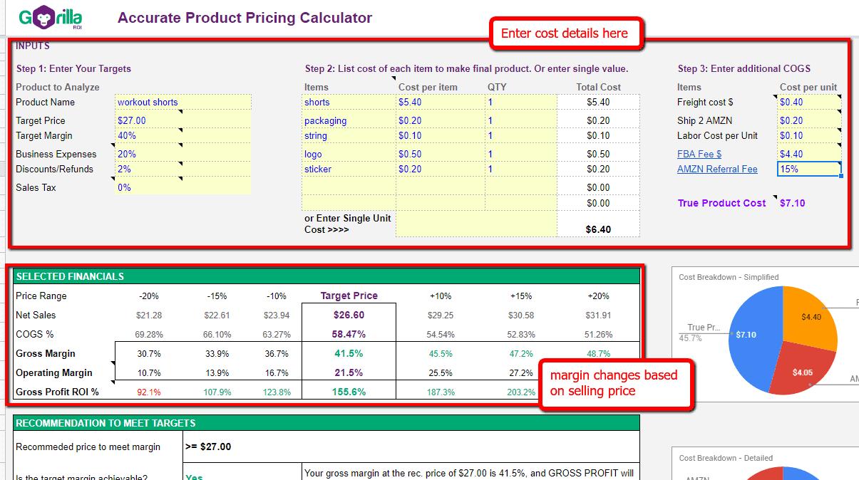 product pricing revenue calculator
