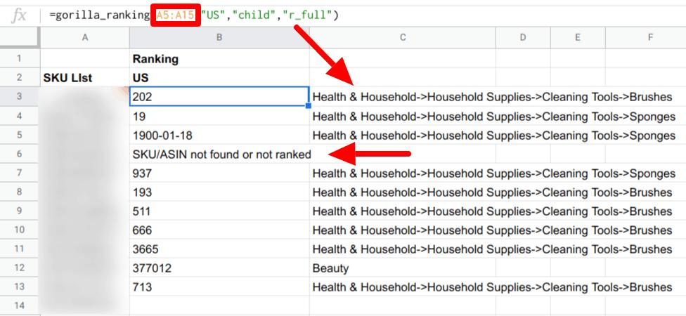 Pull Bulk BSR into Google Sheets