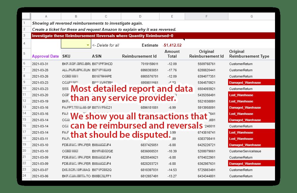 FBA reimbursement transactions
