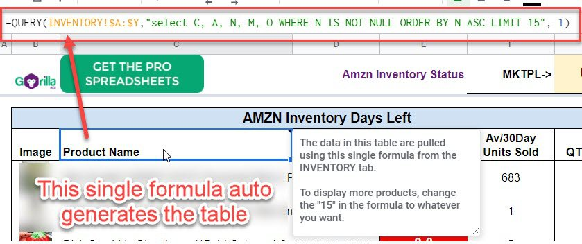 using query dashboard inventory at amazon